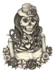 Pencil Sketch Woman Skeleton with Jewelry and Flowers #2 Vinyl Decal Sticker