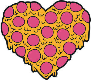 Pepperoni Cheese Pizza Melting Heart Cartoon Vinyl Decal Sticker