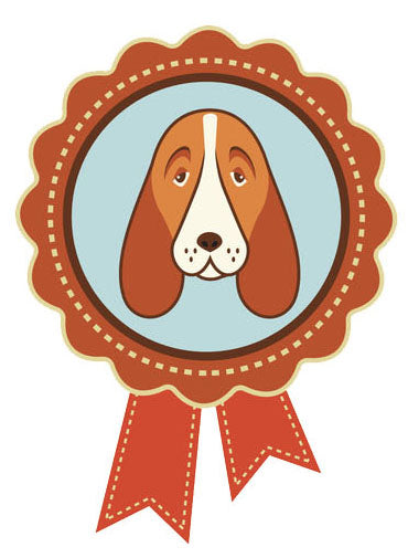 Pet Lover Icon - Bassett Hound Beagle Badge Ribbon Vinyl Decal Sticker