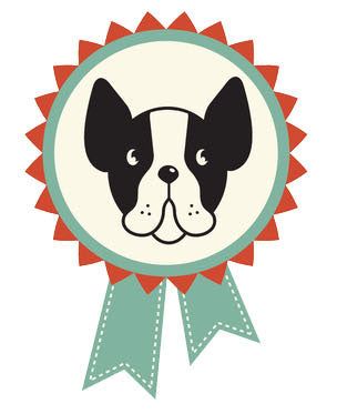 Pet Lover Icon - Boston Terrier Teal Badge Ribbon Vinyl Decal Sticker