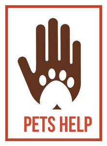 Pet Lover Icon - Pets Help Paw Hand Print Vinyl Decal Sticker