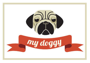 Pet Lover Icon - Pug Puppy with My Doggy Banner Vinyl Decal Sticker