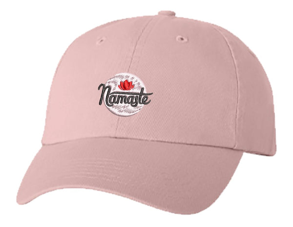 Unisex Adult Washed Dad Hat Pretty Namaste Calligraphy with Pink Lotus Icon Embroidery Sketch Design