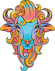 Pink Blue Metallic Ombre Lamb Ram Sheep Vinyl Decal Sticker