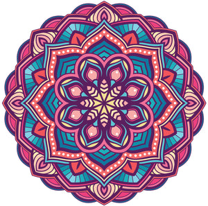Pink Blue Purple Detailed Mandala Flower Emblem Icon Vinyl Decal Sticker