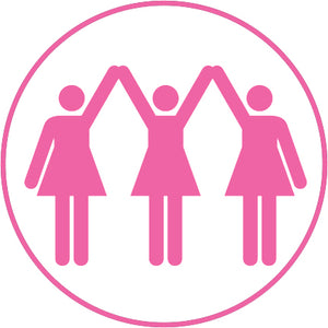 Pink Breast Cancer Awareness Logo Symbol Icon - Girl Group Vinyl Decal Sticker