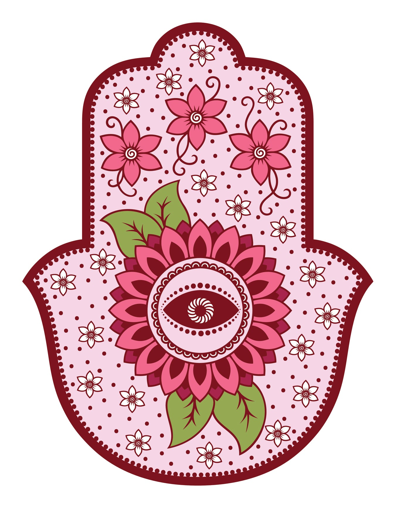 Pink Floral Pattern Hamsa Hand of Fatima Vinyl Decal Sticker
