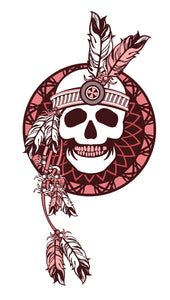 Pink Maroon Tribal Skull with Feathers Vinyl Decal Sticker