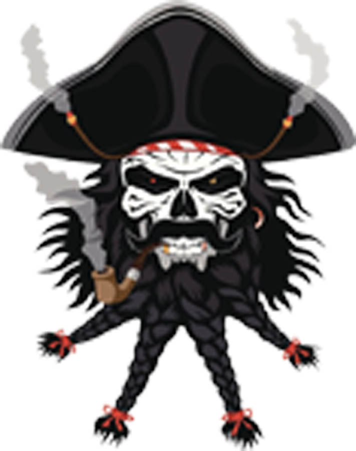 PIRATE MONSTER WITH BRAIDED BEARD AND MUSTACHE WITH HAT AND SMOKING PIPE BLACK WHITE RED GREY Vinyl Decal Sticker