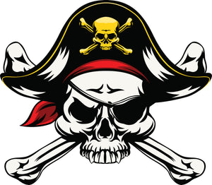 Pirate Captain Skull and Crossbones with Eyepatch Vinyl Decal Sticker