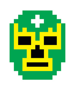 Pixelated Lucha Libre Wrestler Mask (9) Vinyl Decal Sticker