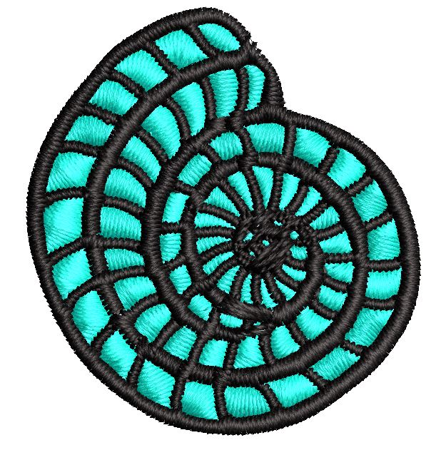 Iron on / Sew On Patch Applique Pretty Dainty Teal Beach Seashell Paint Sketch Embroidered Design