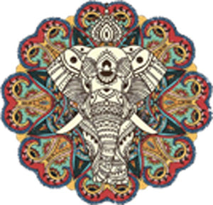 Pretty Ivory Elephant with Colorful Mandala Flower Vinyl Decal Sticker
