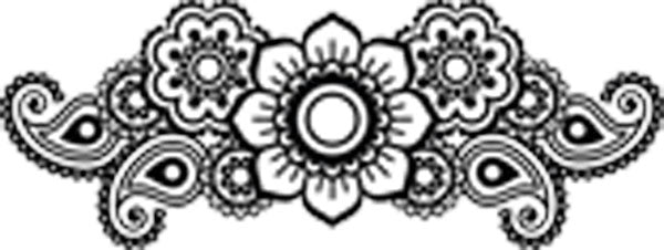 Pretty Paisley Mandala Floral Icon - White Vinyl Decal Sticker