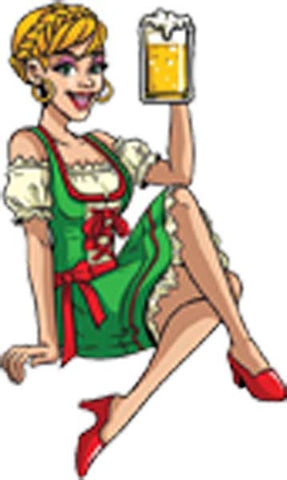 Pretty Sexy Hot German Beer Maid Posing Cartoon Vinyl Decal Sticker