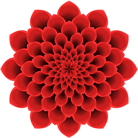 Pretty 3-D Optical Illusion Mandala Dahlia Flower - Red Vinyl Decal Sticker