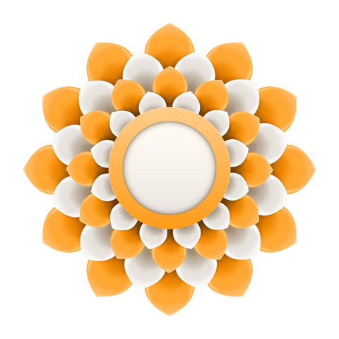 Pretty 3-D Optical Illusion Mandala Flower - Orange White Vinyl Decal Sticker