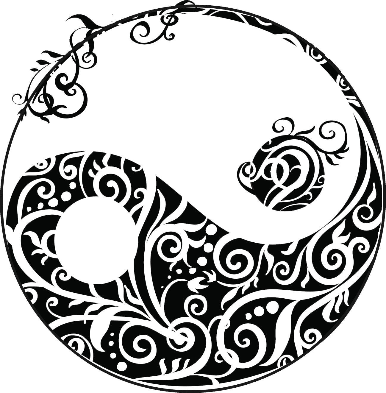 Pretty Beachy Vine Silhouette Art Cartoon Yin Yang Sign Icon Vinyl Decal Sticker
