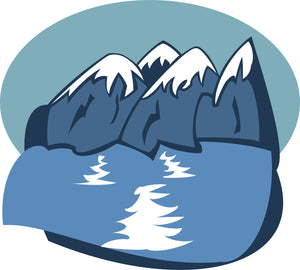 Pretty Beautiful Mountain Landscape And Ocean Cartoon Vinyl Decal Sticker