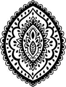 Pretty Black and White Boho Indian Art Cartoon - Oval Icon Vinyl Decal Sticker