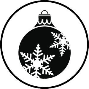 Pretty Black and White Christmas Holiday Winter Cartoon Icon - Ornament Vinyl Decal Sticker