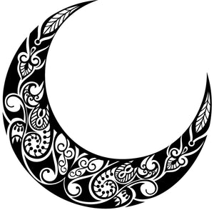 Pretty Black and White Crescent Moon - Paisley Vinyl Decal Sticker
