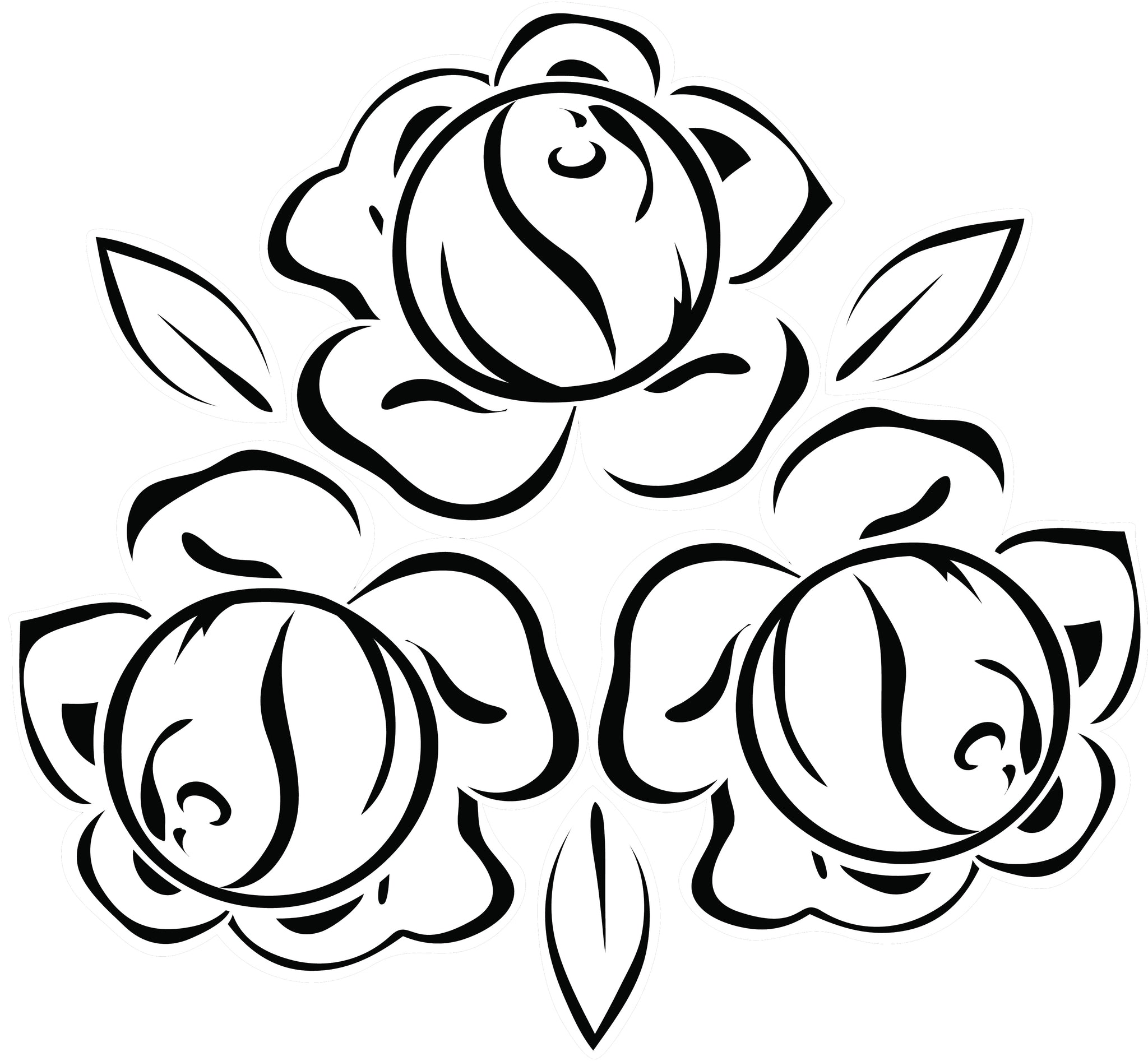 Pretty Black and White Rose Outlines Vinyl Decal Sticker
