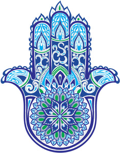 Pretty Blue Green Hamsa Hand of Fatima with  Paisley Mandala Flower Vinyl Decal Sticker