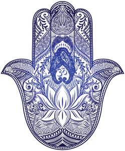 Pretty Blue Ombre Paisley Hamsa Hand of Fatima Vinyl Decal Sticker