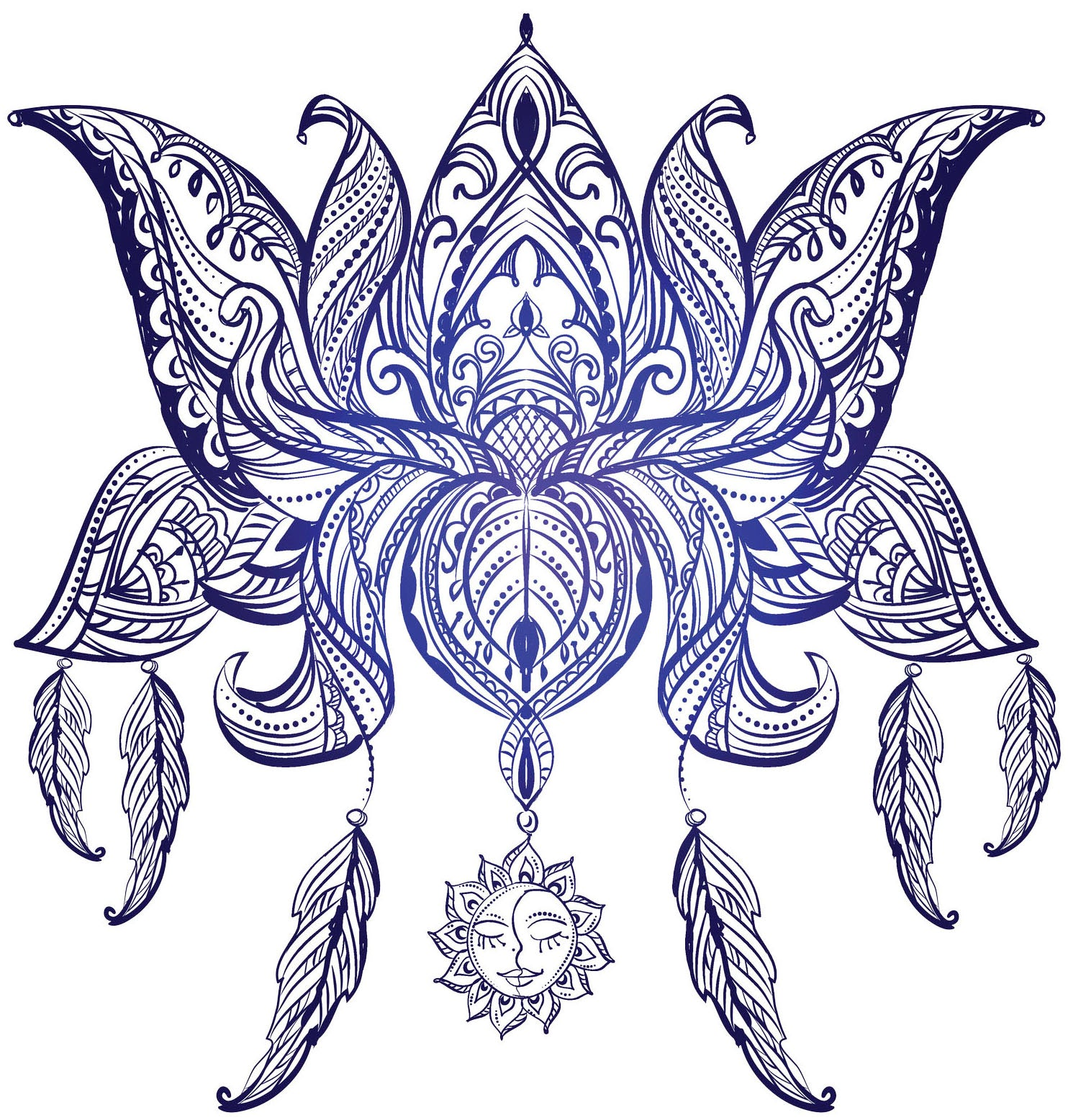 Pretty Blue Ombre Paisley Lotus Flower with Feathers Vinyl Decal Sticker