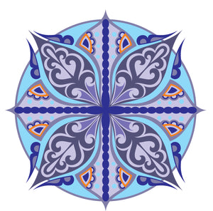Pretty Blue Paisley Pattern Flower Icon #8 Vinyl Decal Sticker
