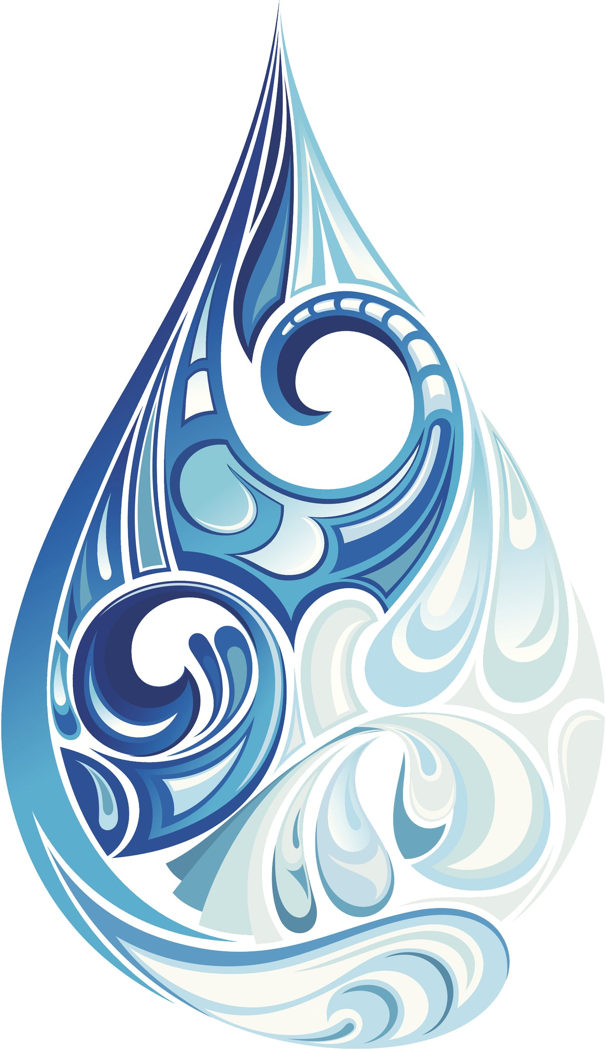 Pretty Blue Watercolor Water Droplet Drawing Vinyl Decal Sticker