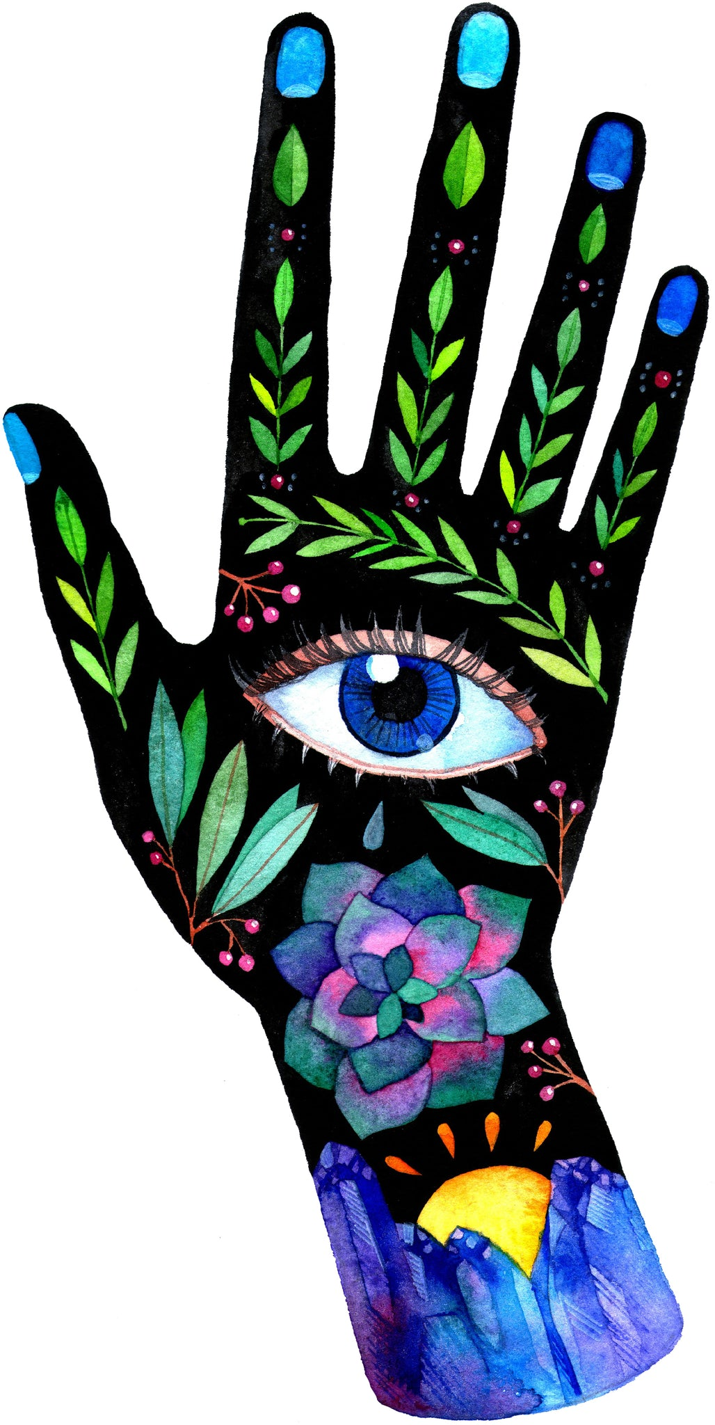 Pretty Bohemian Hipster Painted Hands - Right Vinyl Decal Sticker