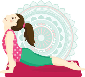 Pretty Child Kid Yoga Yogi with Mandala Flower - Upward Facing Dog Pose Vinyl Decal Sticker