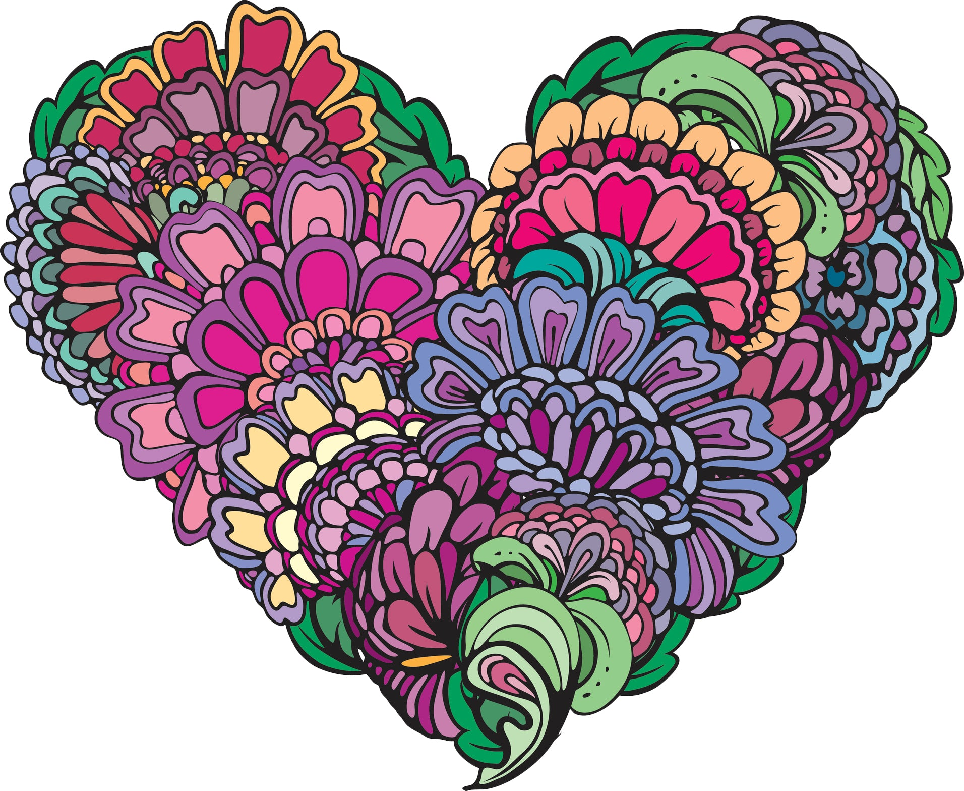 Pretty Colorful Abstract Flower Heart Cartoon Icon #2 Vinyl Decal Sticker
