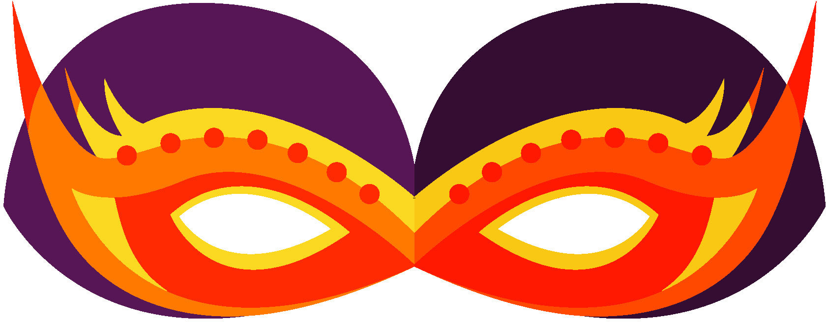 Pretty Colorful Masquerade Mask Cartoon - Orange Purple Fire Mask Vinyl Decal Sticker