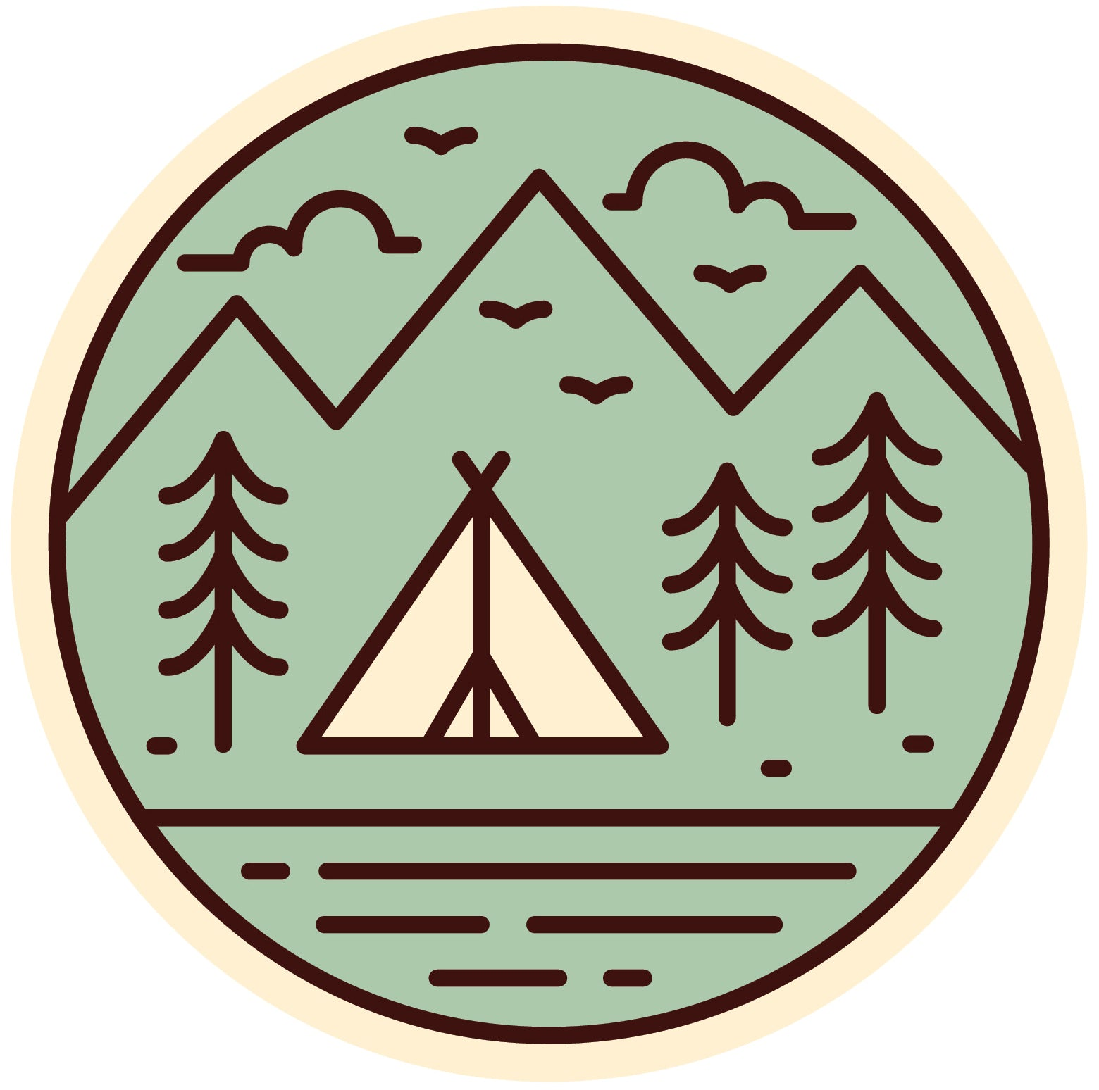 Pretty Colorful Tepee in Nature Icon -  Mint Green Vinyl Decal Sticker