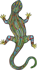 Pretty Colorful Tribal Pattern Rainforest Lizard Vinyl Decal Sticker