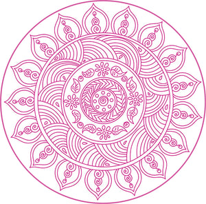Pretty Colorful Vibrant Mandala Henna Flower Drawing - Pink Vinyl Decal Sticker
