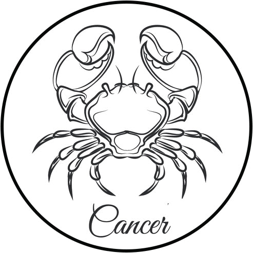 Pretty Delicate Horoscope Astrology Sign Cartoon Icon - Cancer Vinyl Decal Sticker