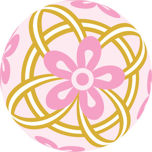 Pretty Delicate Ornate Floral Flower Sphere Cartoon - Pink Gold  #1 Vinyl Decal Sticker