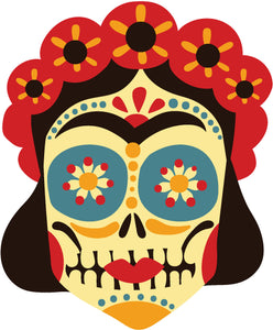 Pretty Dia de los Muertos Art Cartoon - Female Sugar Skull Vinyl Decal Sticker