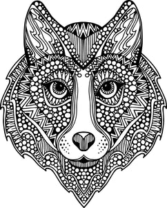 Pretty Feminine Wolf with Tribal Pattern Vinyl Decal Sticker