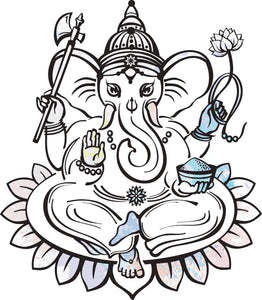 Pretty Ganesha Elephant God Cartoon Art #5 Vinyl Decal Sticker