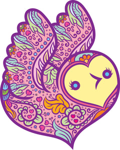 Pretty Girly Henna Heart Shaped Owl Cartoon Icon - Rainbow Vinyl Decal Sticker
