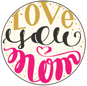 Pretty Girly Love You Mom Calligraphy Icon Vinyl Decal Sticker