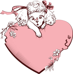 Pretty Girly Poodle Puppy Dog Pink Heart Cartoon Icon Vinyl Decal Sticker
