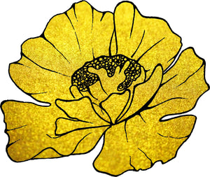 Pretty Golden Speckle Single Flower Blossom Cartoon Art Vinyl Decal Sticker