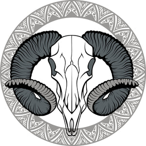 Pretty Gray Desert Animal Skull Cartoon Icon Vinyl Decal Sticker