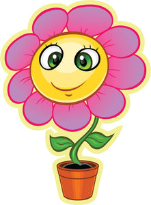 Pretty Happy Kawaii Flower Cartoon in Pot - Pink Daisy Vinyl Decal Sticker